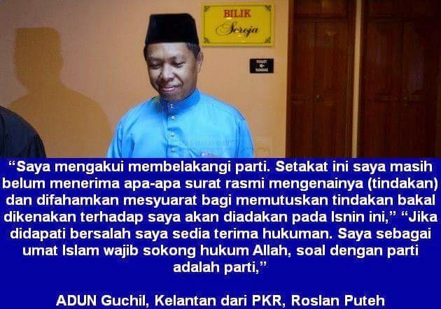 APA AGAMA PKR PUSAT ADUN PKR Kelantan Saya Wajib Sokong Hukum Allah Soal Parti Saya Sedia Terima Hukuman