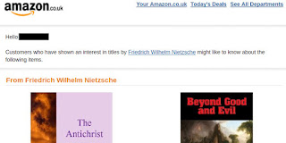 Email from Amazon about Nietzsche