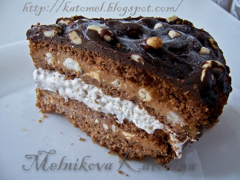 Торт сникерс рецепт пошагово с нугой