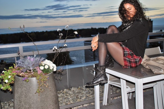 ootd all saints combat boots forever21 plaid skirt alexander mcqueen skull scarf