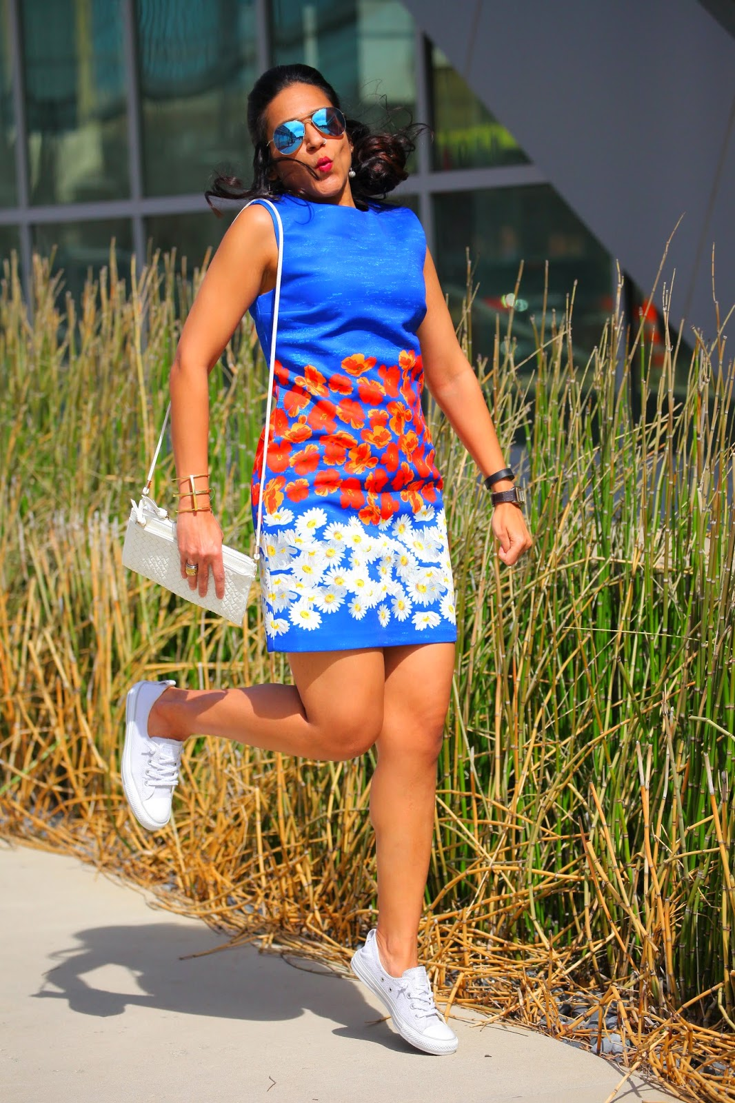 Dress - South Moon Under, Shoes - Converse, Bag - Rebecca Minkoff, Sunglasses - RayBan, Tanvii.com