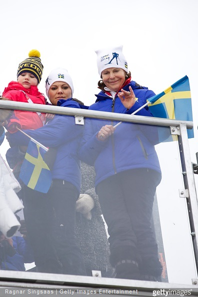 Princess Estelle of Sweden, Crown Princess Victoria of Sweden and Queen Silvia of Sweden attend the FIS Nordic World Ski Championships