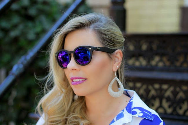quay blue mirrored sunglasses