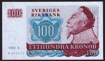 Sweden Currency 100 Swedish Kronor Krona banknote