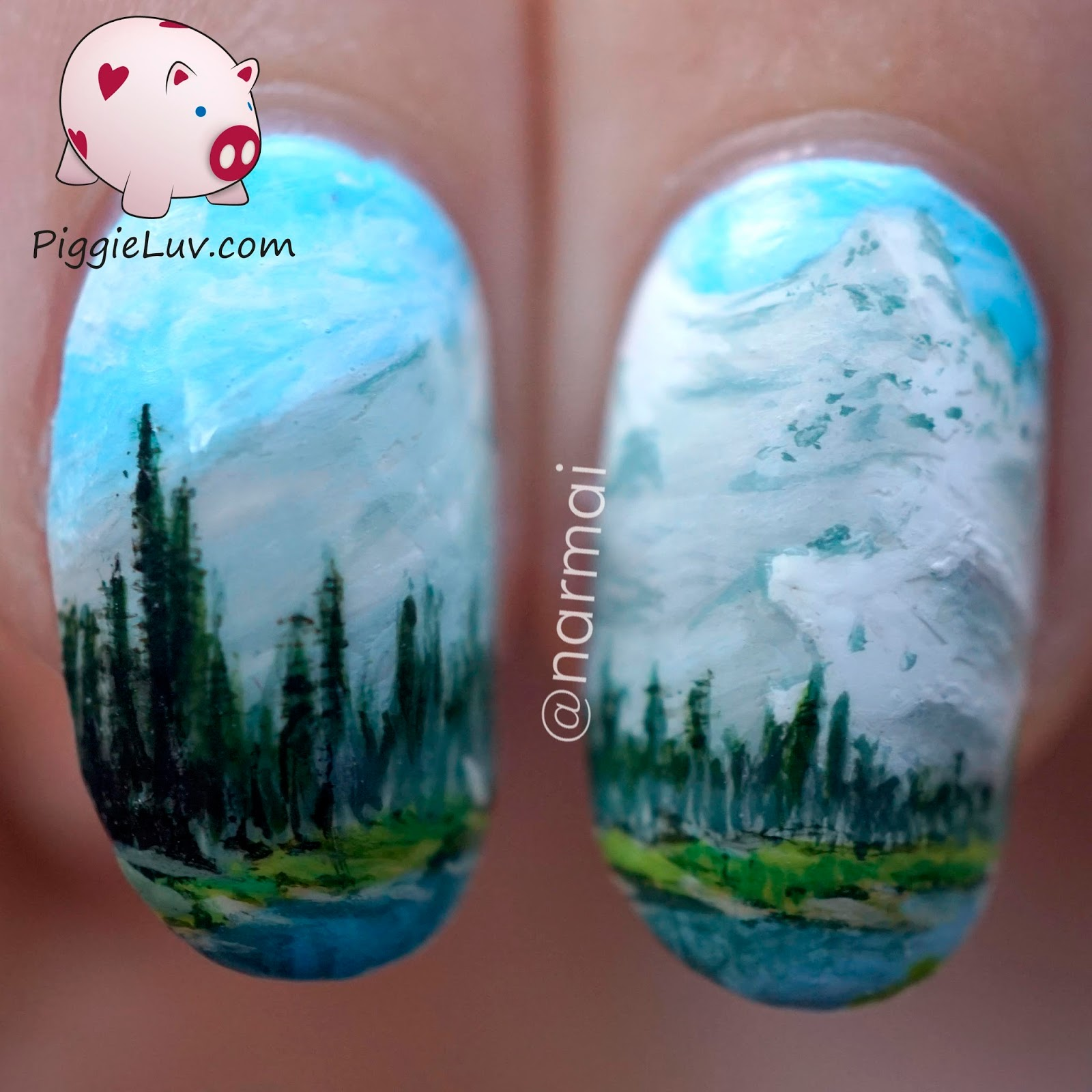 Piggieluv nail art inspired by a bob ross painting painting on nails is a lot different from painting on canvas first of all its a different surface nails are very smooth even though sometimes ill add prinsesfo Gallery