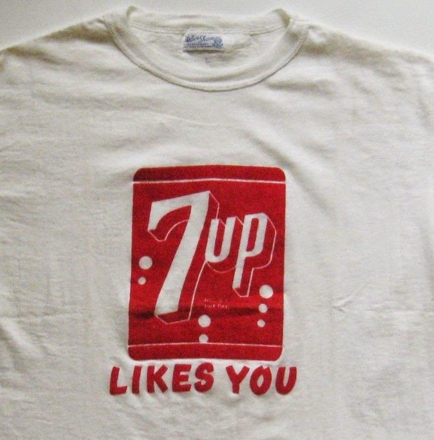 DEADSTOCK NOS vintage 7Up Likes You t-shirt 7-Up 1930s L Velva Sheen Flocked