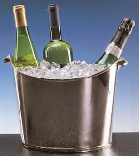 wine bottles in ice bucket