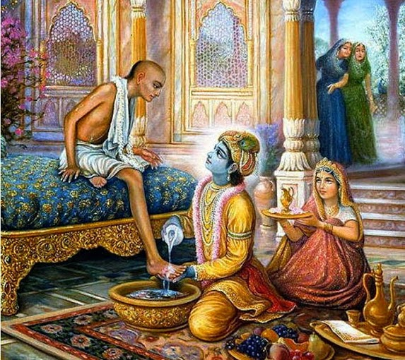 Krishna washing feet of Sudama