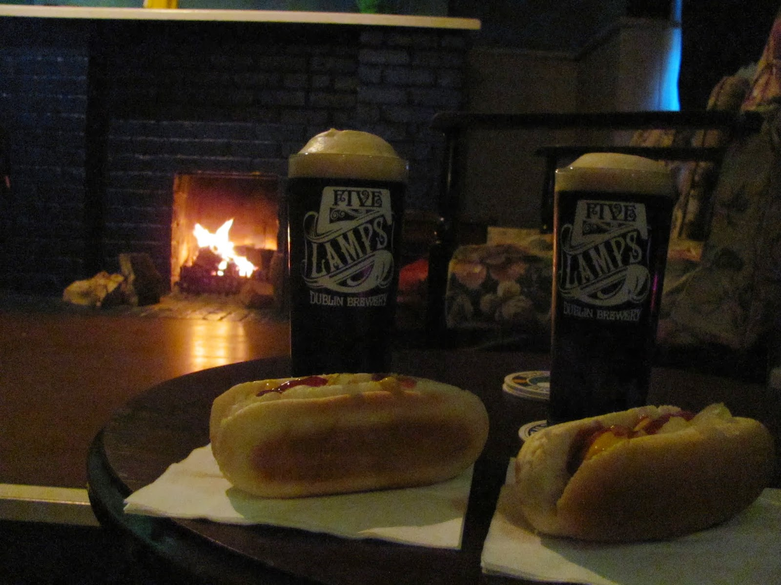 Five Lamps, Hot Dogs, and a Roaring Fire at Beerhouse in Dublin, Ireland