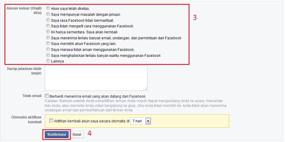 Cara Menonaktifkan/Menghapus Akun Facebook