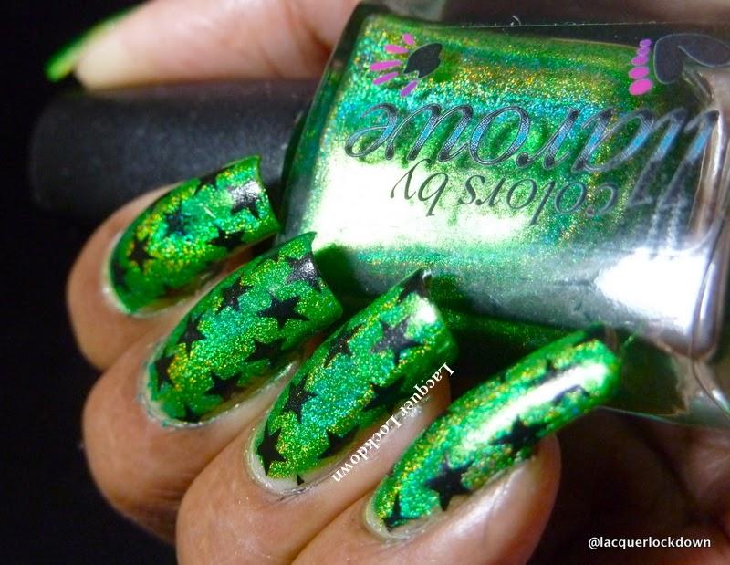 Lacquer Lockdown - Colors by Illarowe.  CBL, Colors by Llarowe Gemini Rising, green holo nail art, nail art stamping blog, nail art stamping, Betina 08, star nail art, stars, stamping, simple halloween nail art, nail art