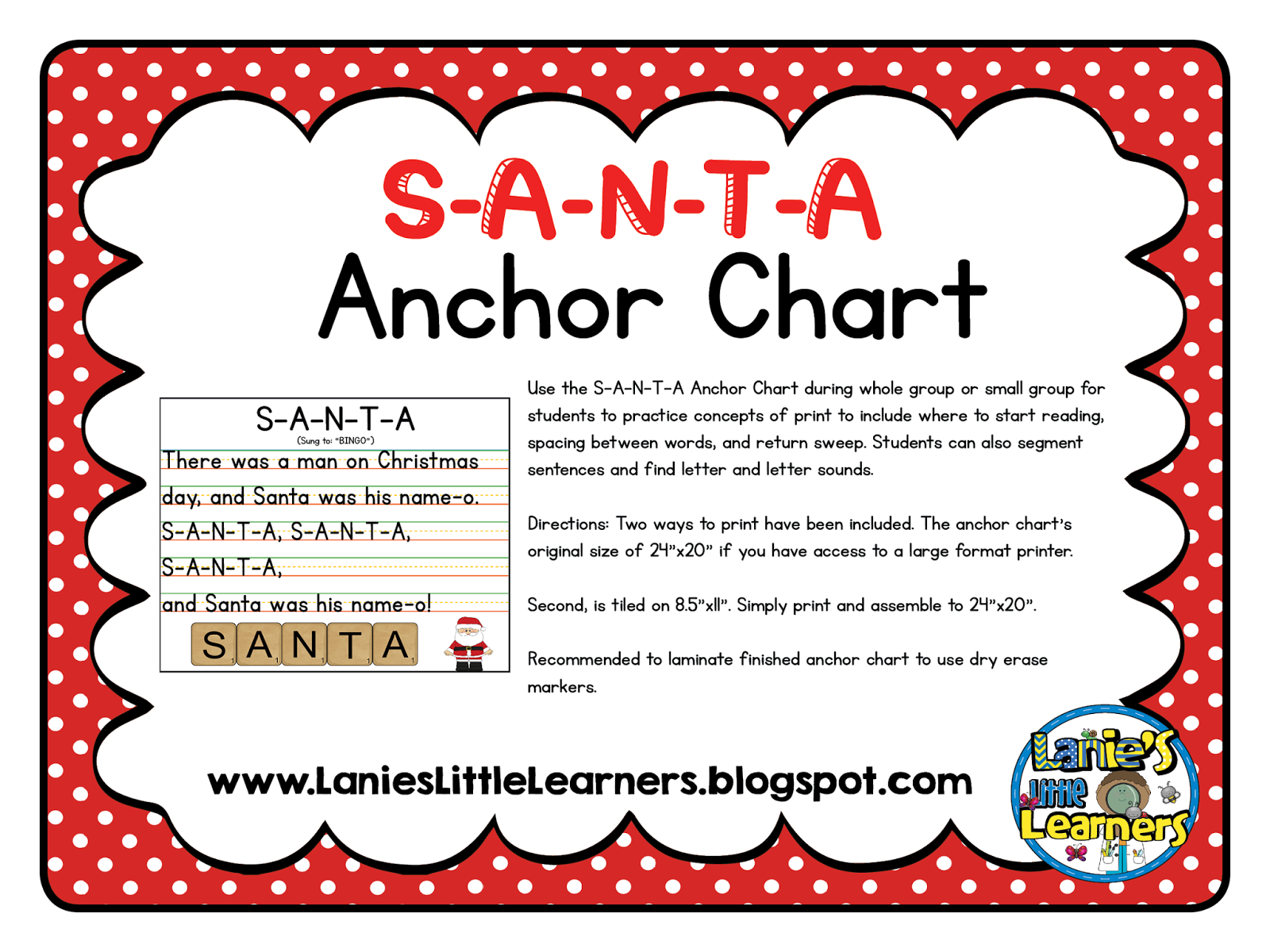 The Anchor Charts Original Size Of 24x 20 If You Have Access To A Large Format Printer Second Is Tiled On