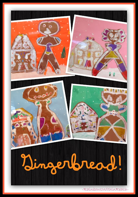 Gingerbread Paintings: Gingerbread Man with Gingerbread House via RainbowsWithinReach