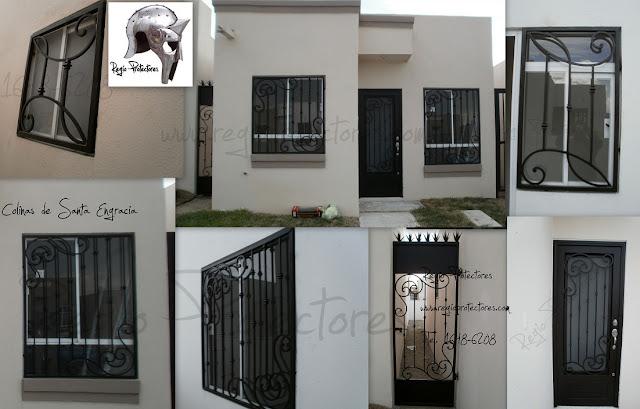Protectores para ventanas y puerta principal de hierro forjado, Fracc