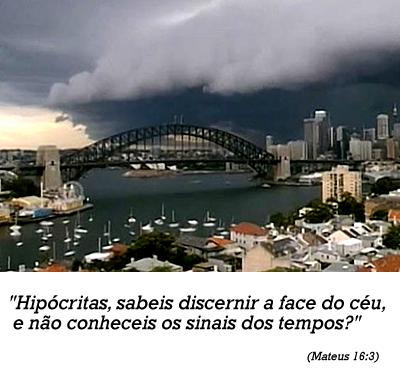 Tempestade cobre baía de Sydney com nuvens ameaçadoras
