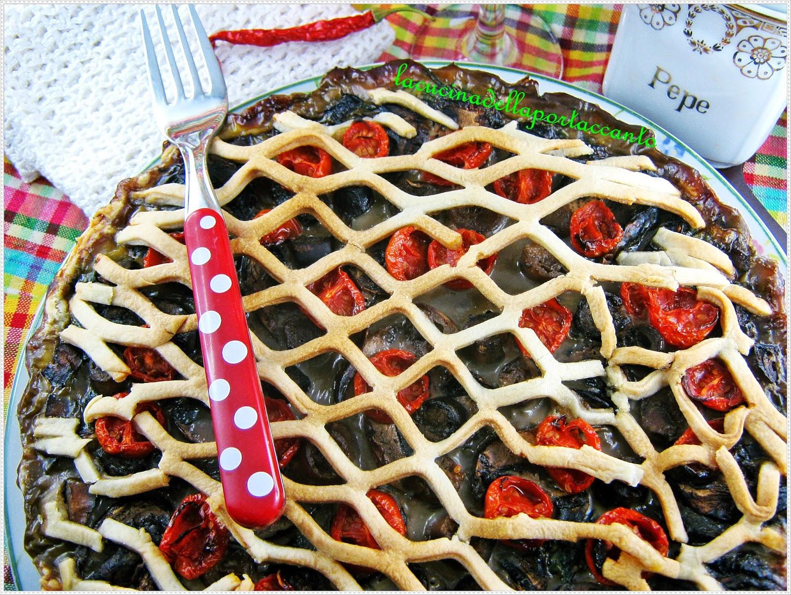 crostata salata di agretti con ricotta e funghi cremini al profumo di basilico
