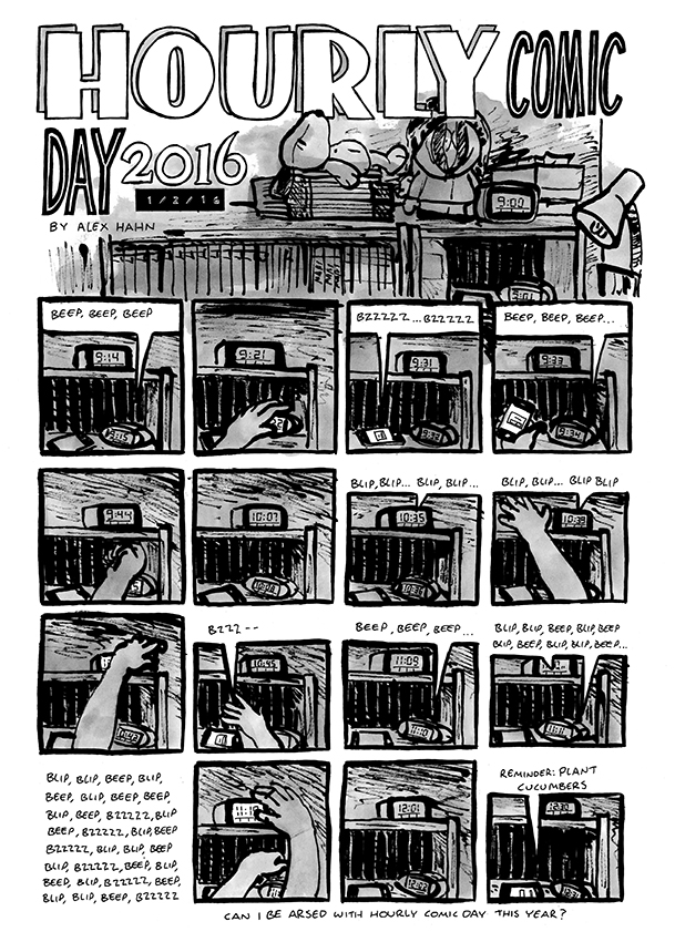 Alex's contribution to hourly comics day, depicting a sequence of alarm clocks ringing and getting put on snooze between 9am and 12.30pm
