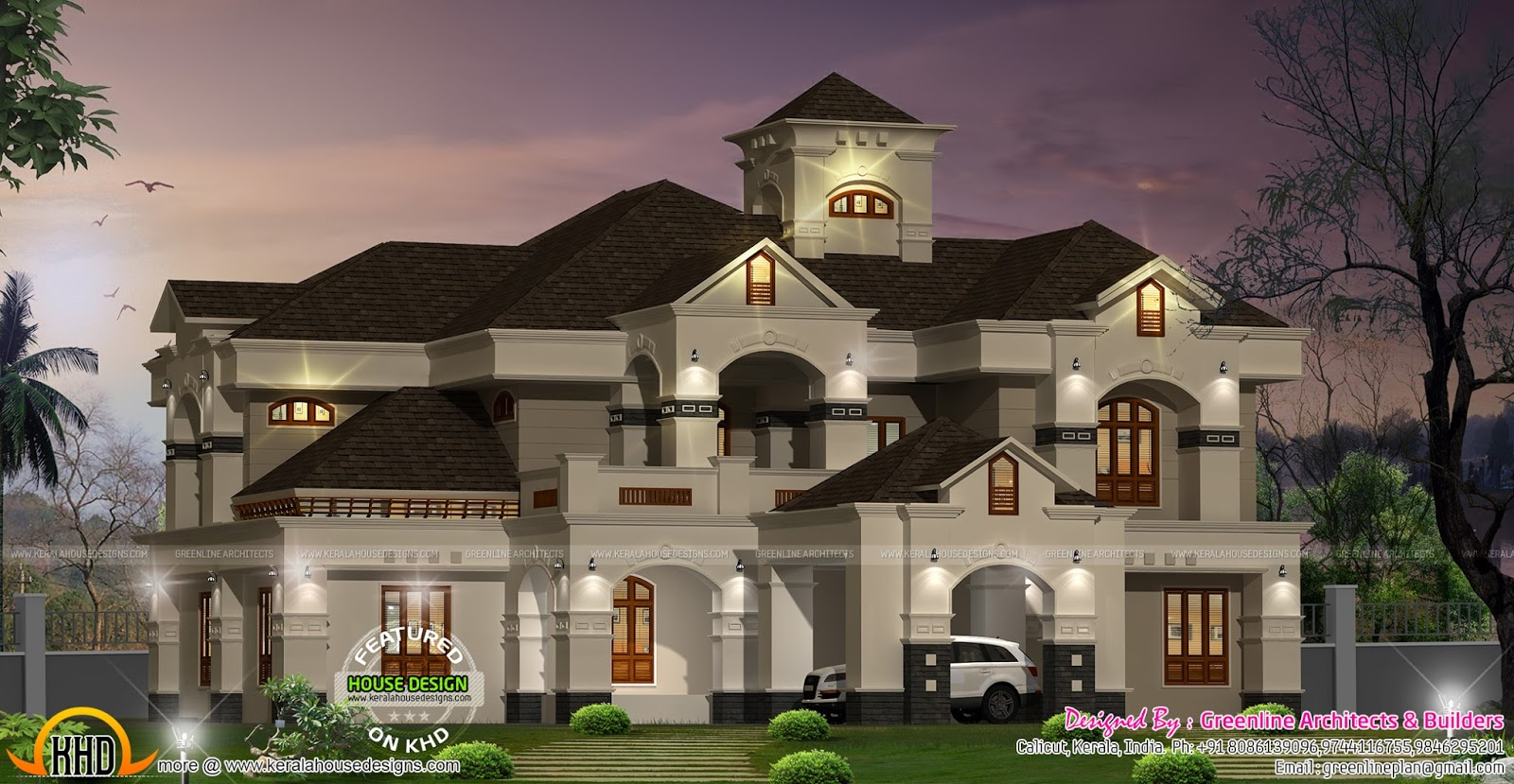 Luxurious kerala villa kerala home design and floor plans for Villa plans in kerala