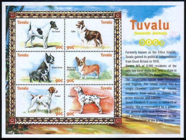 年度不明ツバル フォックス・テリア、コリー、ボストン・テリア、ウェルシュ・コーギー・ペンブローク、ポインター、ダルメシアンの切手シート