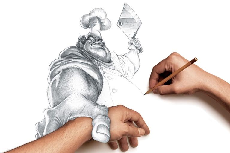 Tegning af slagter klar til at hugge tegneren