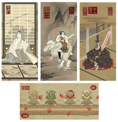 "Ninja Star: Wars Series 2 Art Prints by Steve Bialik - ""Invasion of the Death Palace,"" ""Spacewalker,"" ""Akuma"" & ""Iwoks"""