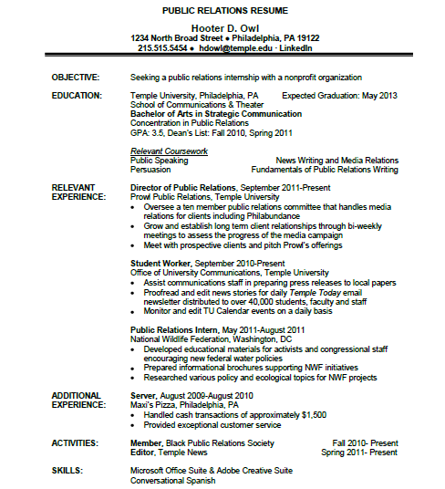 Additional coursework on resume college