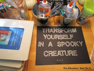 Make a spooky creature using a picture frame and craft items