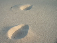 rastro en la playa