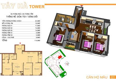 căn số 1 chung cư tây hà tower