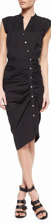Veronica Beard Ruched Asymmetric Shirtdress