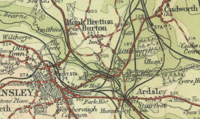 A map snip showing the location of Monk Bretton
