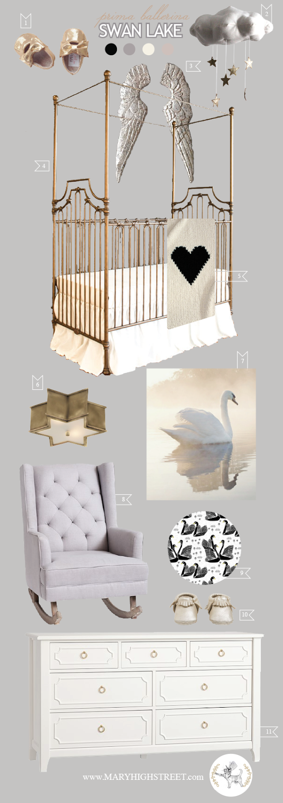 Swan Lake || on California Peach || Nursery Baby Room Interior Design Style Board