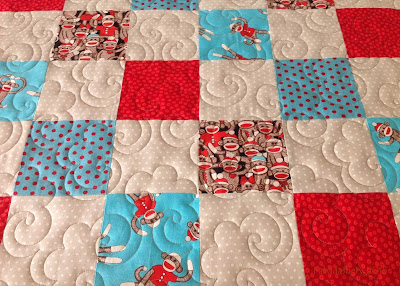 'Sock Monkey Quilt' with Popcorn digital pantograph
