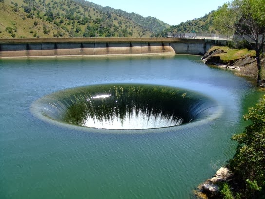 Glory hole in monticello dam. California.