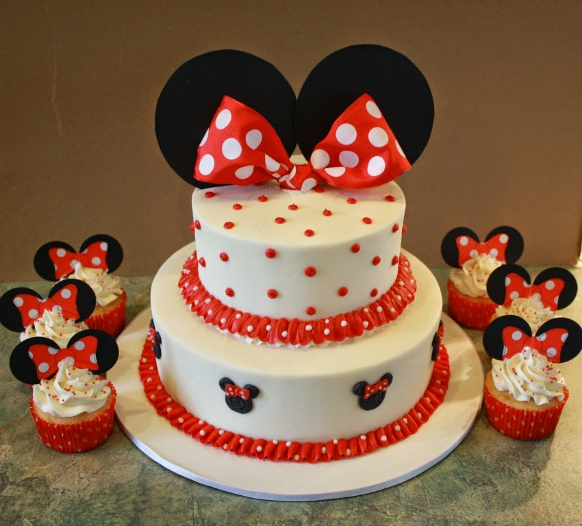 Party Cakes Minnie Mouse 2Tier Cake and Cupcakes