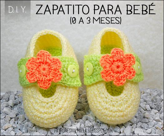 Patrón Gratis: Zapatito para bebé #3 / 0 a 3 meses (video ...