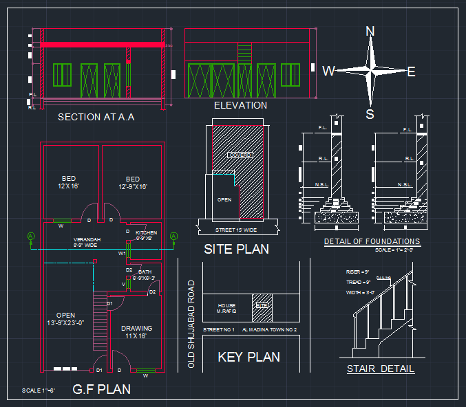 Five Marla House 2d Plan Free Download AutoCAD File - Free AutoCAD ...