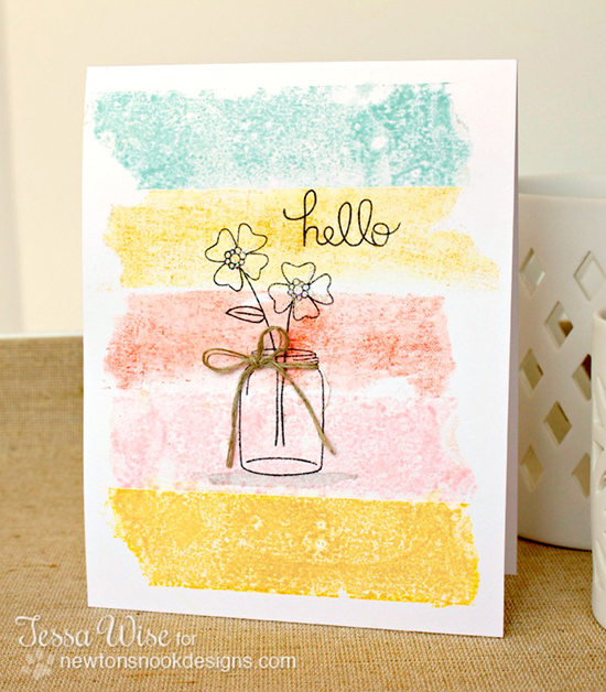 Masking Tape Flower Card by Tessa Wise for Newton's Nook Designs | Versatile Vases