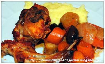 friptura de iepure cu legume si piure de cartofi
