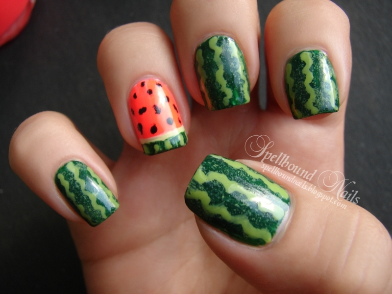 nails nailart nail art Spellbound mani manicure watermelon fruit green ...