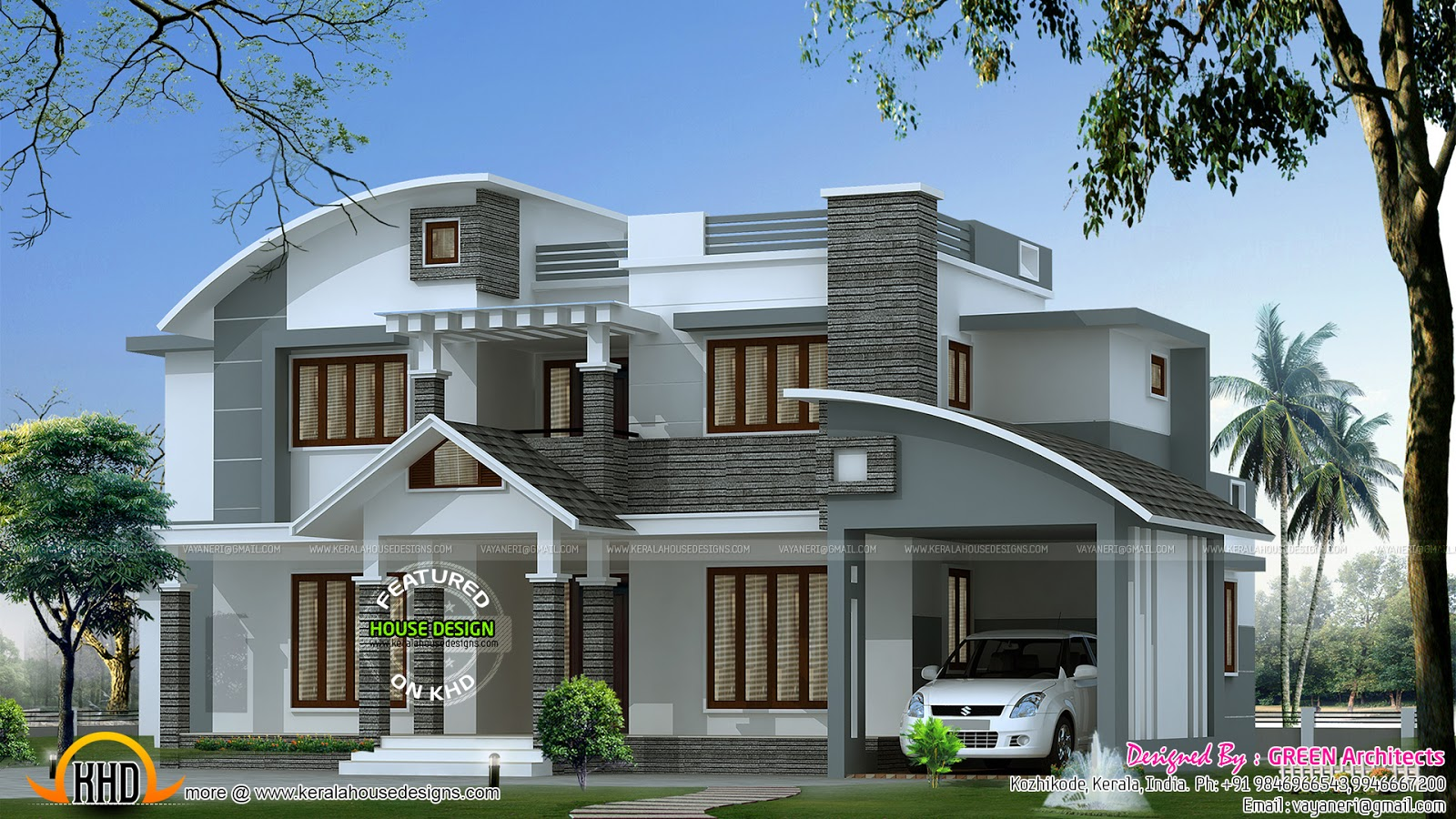 Contemporary mix house in 2500 sq ft kerala home design for 3000 sq ft house plans kerala style