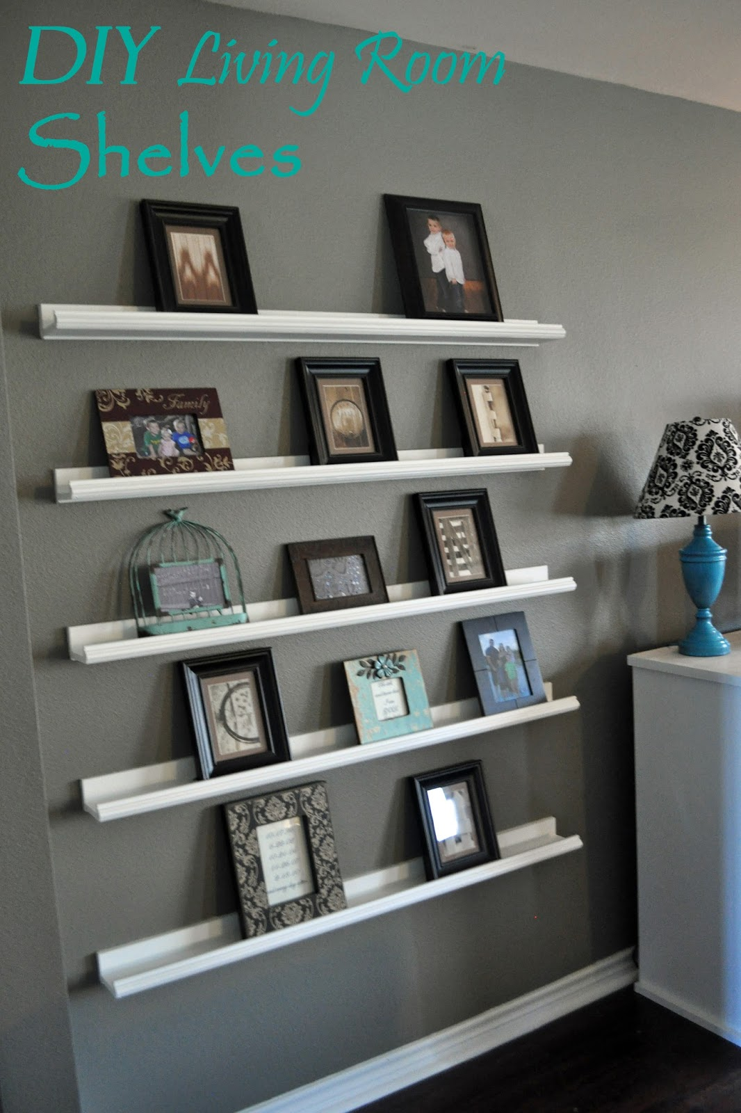 Right where we are diy shelving for picture frames - Living room wall shelf ...
