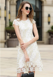 New 2017 Short Sleeve Gold and White Floral Embroidery Lace Dress