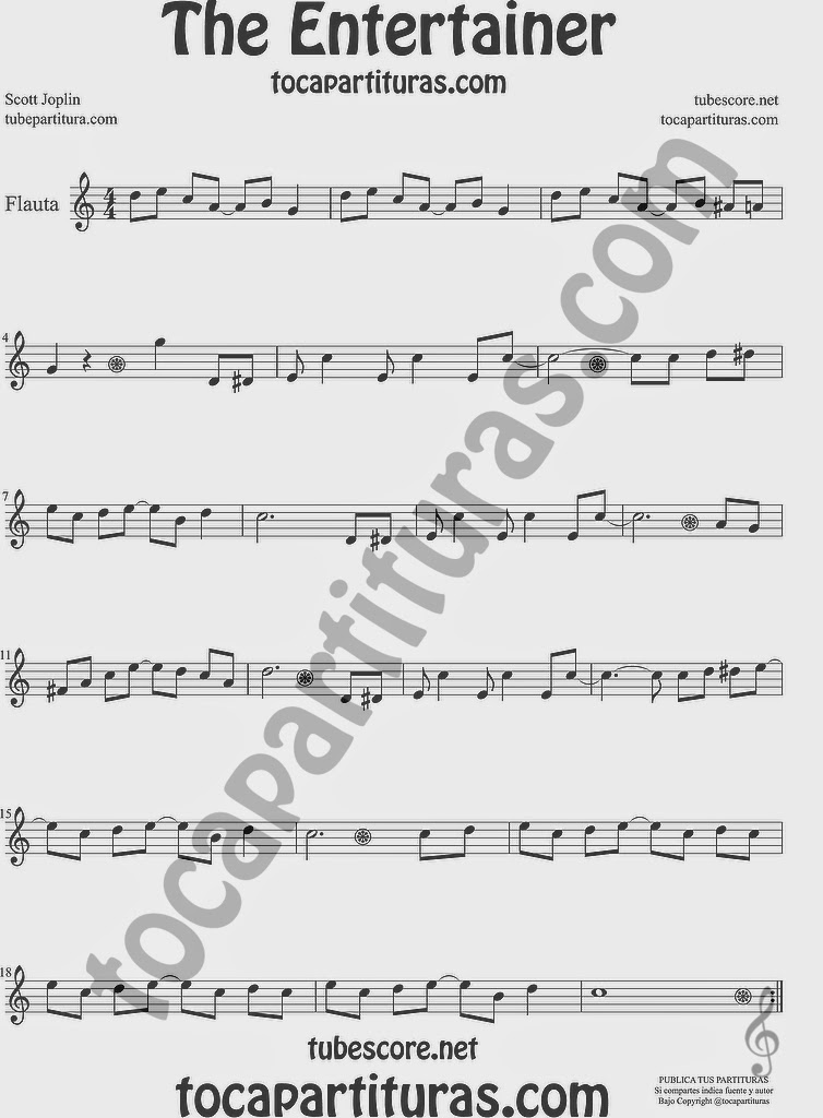 The Entertainer Partitura de Flauta Travesera, flauta dulce y flauta de pico Sheet Music for Flute and Recorder Music Scores by James Joplin