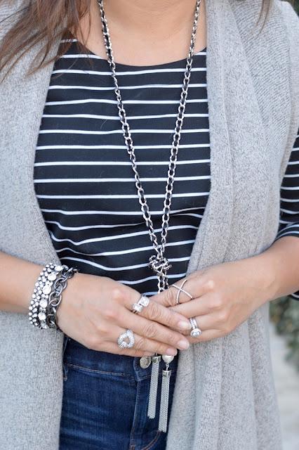 BaubleBar Mason Pave Ring, WHBM pave link bracelet