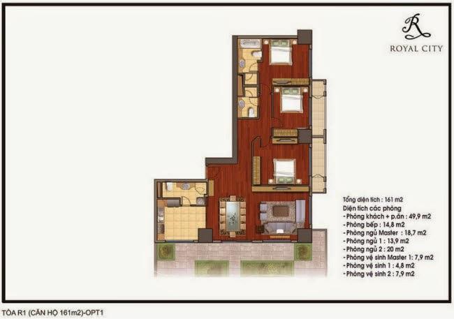 Mặt bằng căn hộ 161m2 tòa R1 Royal City