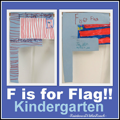 photo of: F is for flag, patriotic letter recognition
