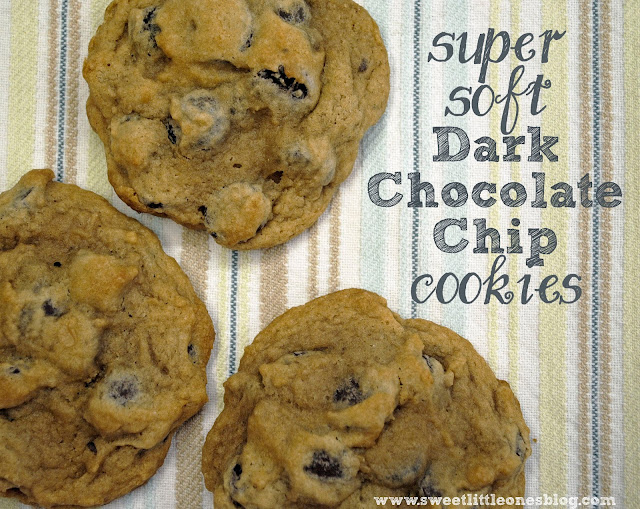 Super Soft Dark Chocolate Chip Cookies Recipe - Egg and Peanut Free - www.sweetlittleonesblog.com
