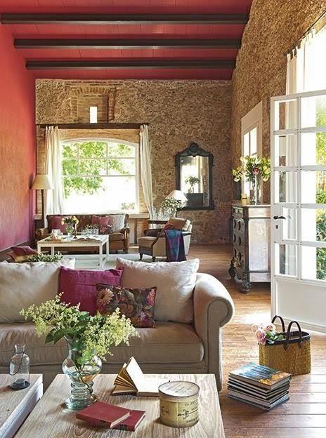 Salones r sticos desde my ventana blog de decoraci n - Salones rusticos con chimenea ...