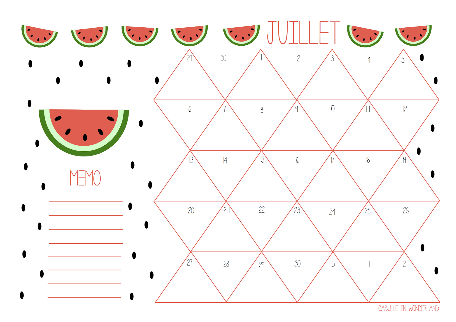 Gabulle in wonderland calendrier du mois de juillet for Calendrier jardin juin 2015
